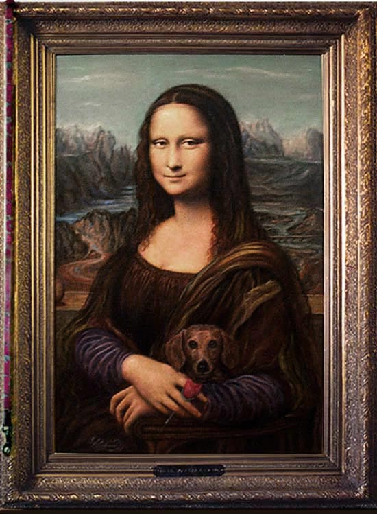 """Mona Lisa Anew"" framed w/ Living Oil Ribbon"
